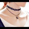 Lace Necklace With Gemstone Women Fashion Black Pendant image