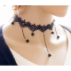Retro Lace and Water Droplets New Fashion Necklace-Black image