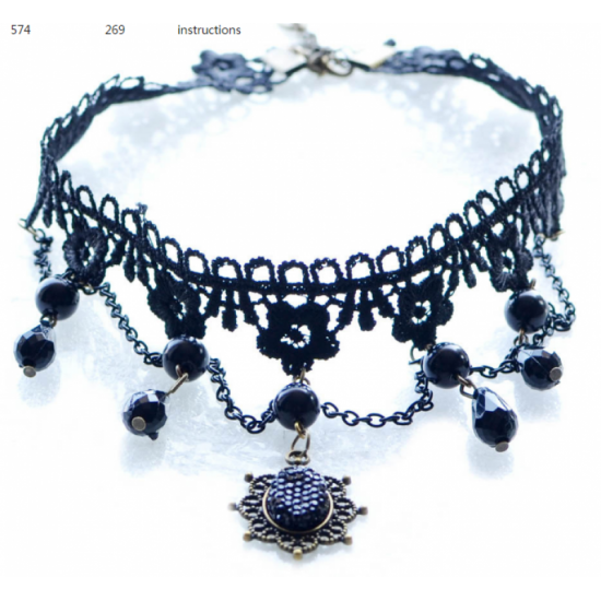 Handmade Ornaments Exaggerated Women Stylish Lace Necklace-Black image