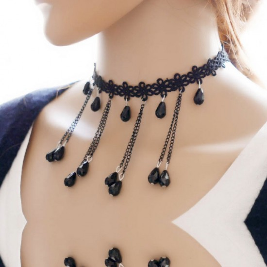 Exaggerated Water Droplets Retro Lace Necklace-Black image