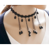Exaggerated Water Droplets Retro Black Lace Necklace image