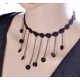 Women Lace Black Gem Pendant Ornament Necklace image