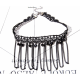 Women Handmade Ornament Style Lace Necklace-Black image