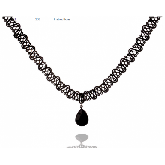Women Fashion New Water Droplets Black Lace Necklace image
