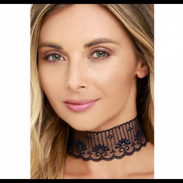 Women Fashion Sexy BLACK Lace Short Neck Chain Necklace image