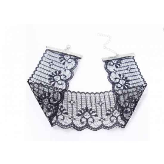 Women Fashion Sexy Lace Short Neck Chain Necklace-Black image