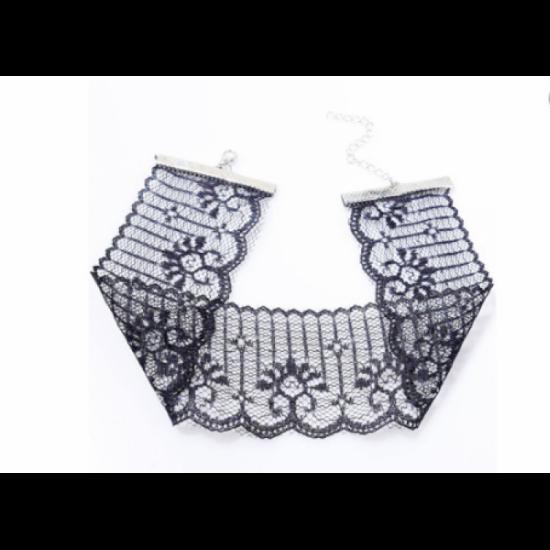 Women Fashion Sexy Lace Short Neck Chain Necklace-Black image