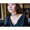 Women Lace with Wind Multi Snake chain BLACK Necklace image