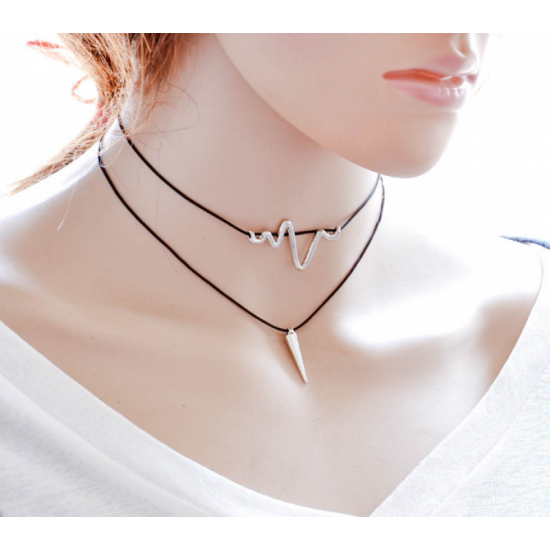 Women Simple Multi Layer Wind Retro Necklace-Black image
