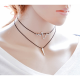 Women Simple Multi Layer Wind Retro Necklace-Black image