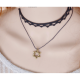 Double Layer Hexagram Lace Boutique Necklace-Black image