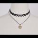 Double Layer Hexagram Lace Boutique Necklace-Black image