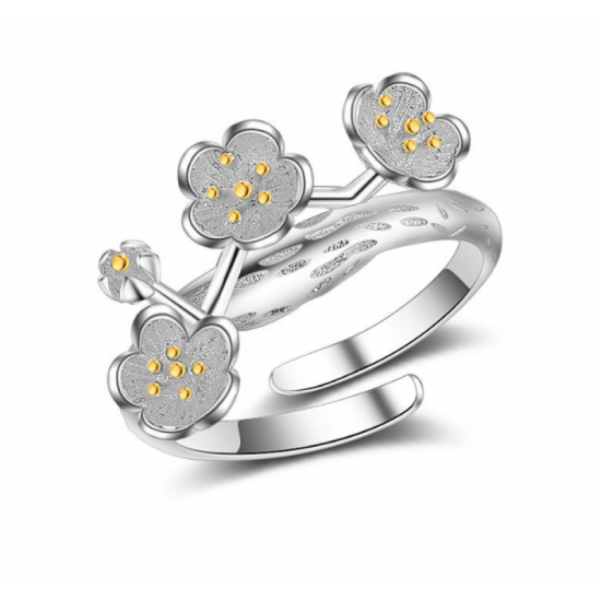 Woman Cherry Blossom Flower Modelling Silver Ring image