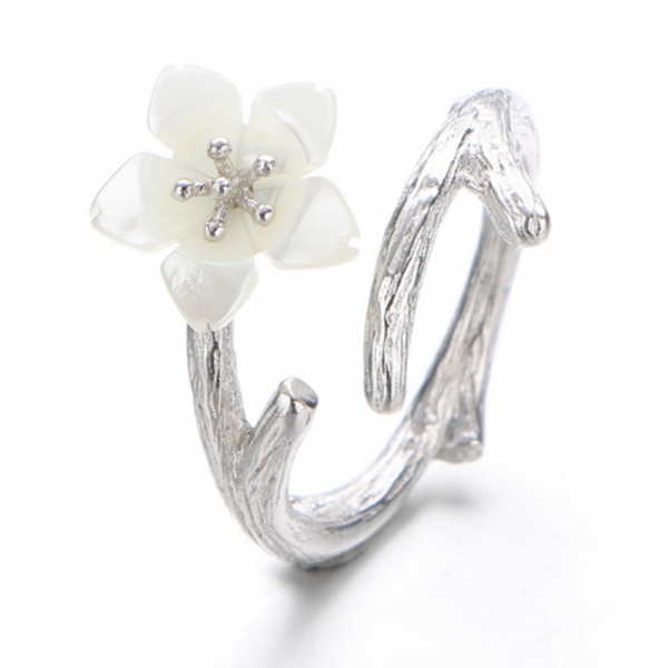 White Color Wind Cherry with White Petals Open Hands Ring image