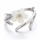 Wind Cherry with White Petals Open Hands Ring For Women image