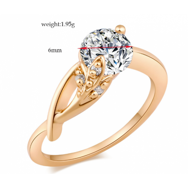 White Crystal Women Fashion Gold Plated Ring image