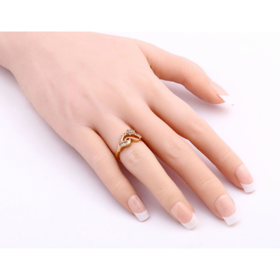 18K Gold Zircon Women Fashion Ring-Golden image