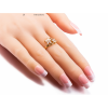 Flower Designed Crystal Zirconian Fashion Gold Ring image
