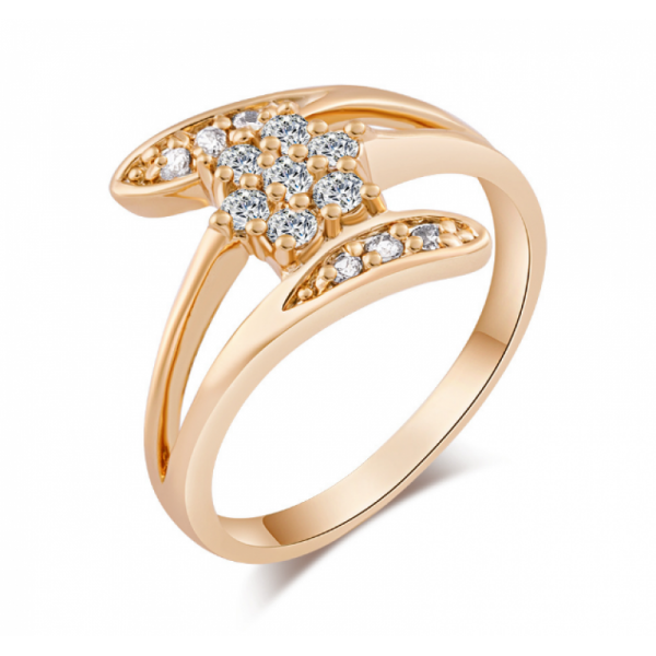 Zirconium Crystals New Fashion Palm Gold Plated Rings image