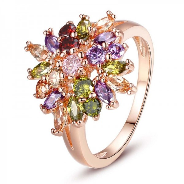 Luxury Rose Multi-Colors Shining Zircon Precious Gold Plated Ring image
