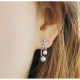 Women Fashion Paragraph Flower with Hanging Peal Golden Earrings image