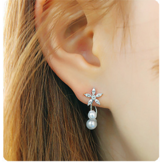 Women Fashion Paragraph Flower with Hanging Peal Golden Silver Earrings image