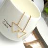 Woman Fashion Gold Long Hanging Triangle Earrings image