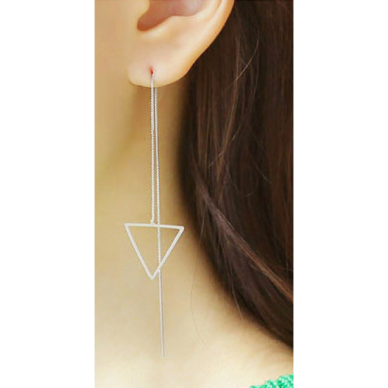 Woman Fashion Long Hanging Triangle Earrings-Sliver image