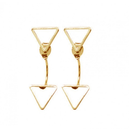 Woman Fashion Triangle Star Female Earrings-Golden image