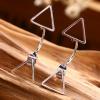 Woman Fashion Silver Triangle star Female Earrings image