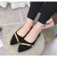 Women Pointed Black with Gold Ribbon Flat loafers Suede Shoes-Black image