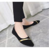 Women Pointed Black with Gold Ribbon Flat Suede Shoes image