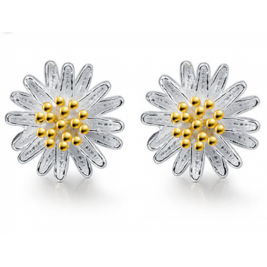 Woman Fashion Daisy Flower Beautiful Small Earrings-Silver image
