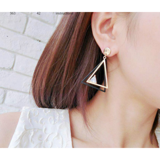 Woman Fashion Double Triangular Braided Zircon Earrings-Gold image