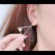 Woman Fashion Double Triangular Braided Zircon Earrings-Gold image