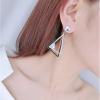 Woman Fashion Silver Double Triangular Braided Zircon Earrings image