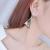 Woman Fashion Double Triangular Braided Zircon Earrings-Silver