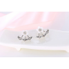 Woman Fashion Small Daisy Flowers Silver Earrings image