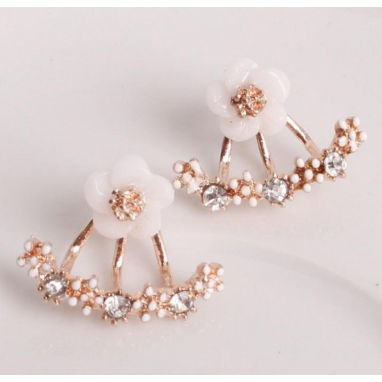 Woman Fashion Small Daisy Flowers Rose Gold Earrings image