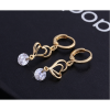 Woman Fashion Double Heart Love Gold Plated White Earrings image