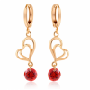 Woman Fashion Double Heart Love Gold Plated Red Earrings image