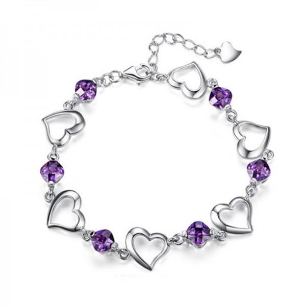 Korean Fashion Purple Color Heart Love Crystal Women Bracelet image