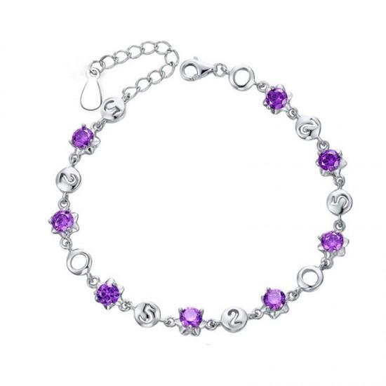 Korean Fashion Purple Silver Color Crystal Bracelet Women image