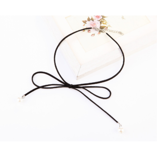 Lovely Tie Bow Women Fashion Pearl Wild Necklace-Black image