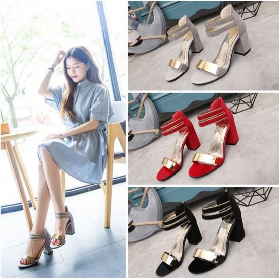 Beige Color Open Toed Zipper Sandals For Women image