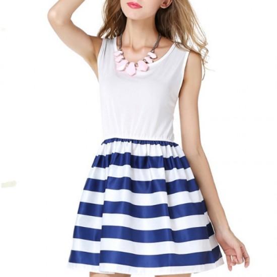 Women Fashion Wind Navy Splicing Sailor Striped Sleeveless Skirt image