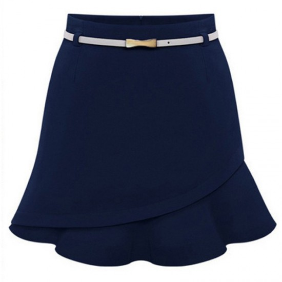 Women Fashion Leather Belt Irregular Mini Skirt-Blue image