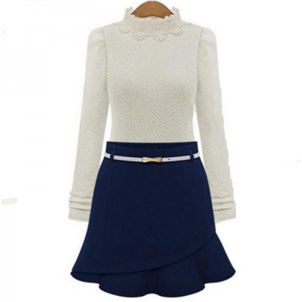 Women Fashion Irregular Blue Color Mini Skirt image