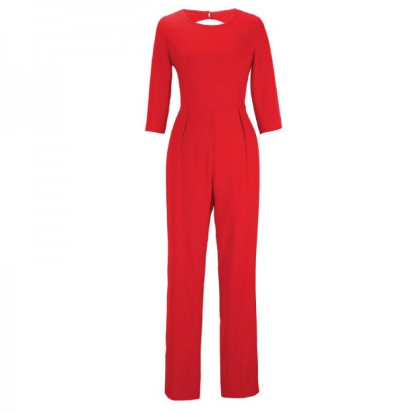 Women Summer Red Sexy Leak Back Jumpsuit Trousers Dress image