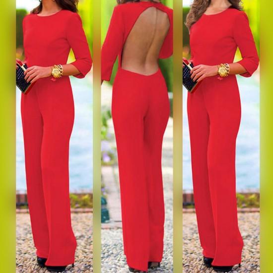 Women Summer Sexy Leak Back Jumpsuit Trousers Dress-Red image